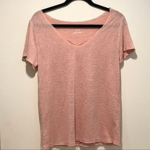 Light Pink V Neck Frayed Shirt